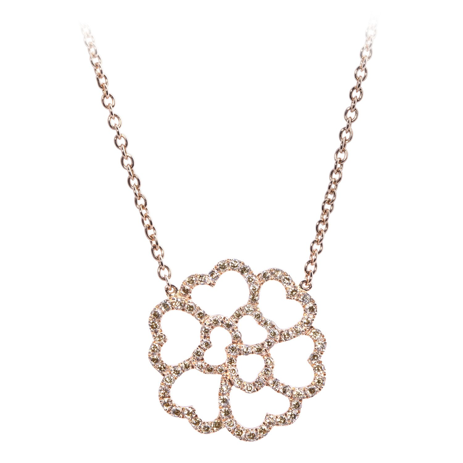 Collier Lucky Love Or Rose 18k Serti Diamants Bruns