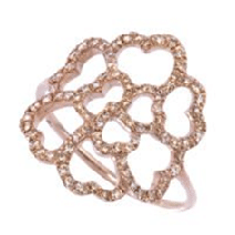 Bague Lucky Love Or Rose 18k & Diamants Bruns