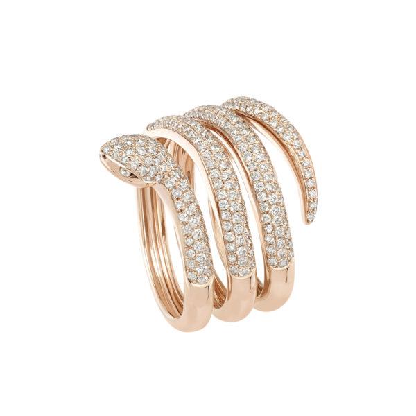 Bague Or rose 18K sertie de diamants bruns