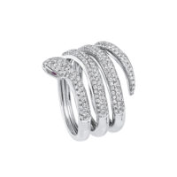 Bague Or gris 18K diamants 3 rangs