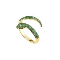 Bague Or jaune 18k tsavorite 1 rang