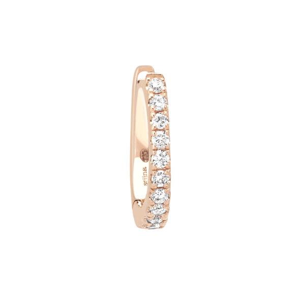 boucle d'oreille or rose et diamants