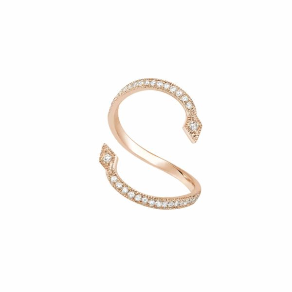 Bague en Or Rose 18K en serti perlé de 36 diamants Gris