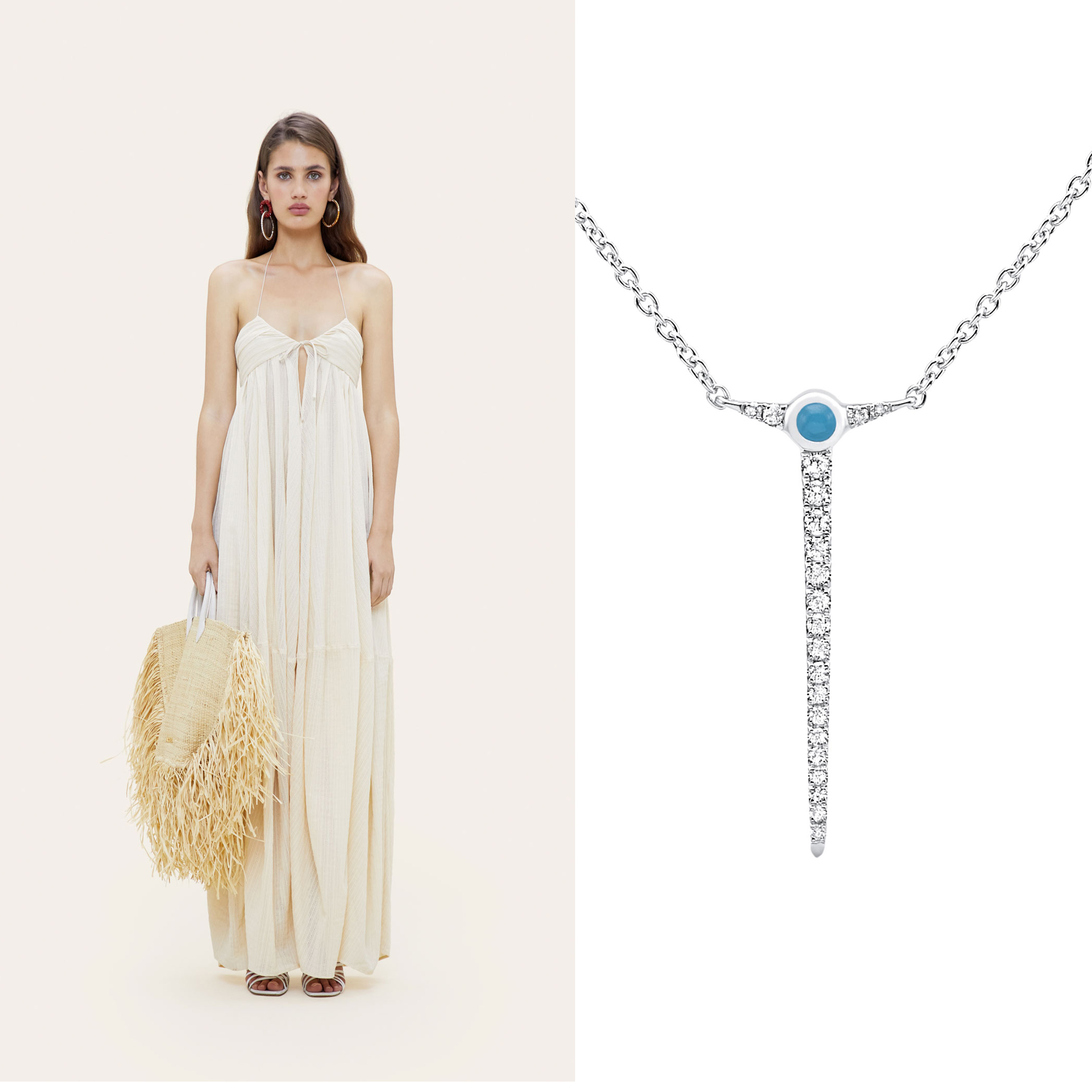 Robe Calci jacquemus et Collier Cyclades