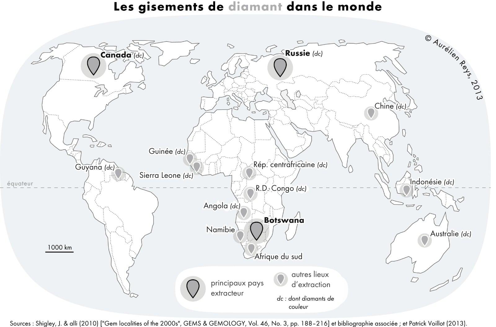 Les gisements de diamants dans le monde