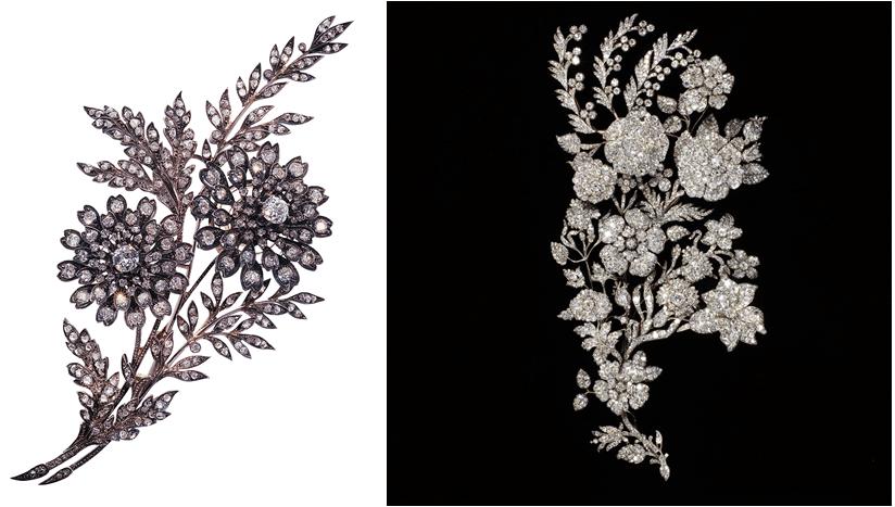 Ornements de corsage du 19e siècle, français à gauche, et britannique à droite