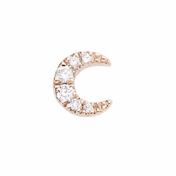 Piercing femme Diamant Moon or rose vue face