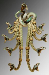 René Lalique pendentif insensé en or et émail