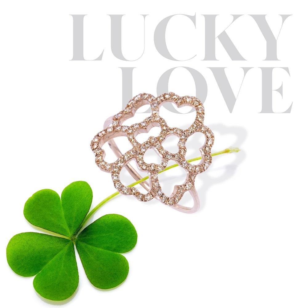 Bague Lucky love or rose 18k